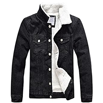 BRDTYSR Winter Mens Fleece Jeans Jackets Thick Warm Cotton