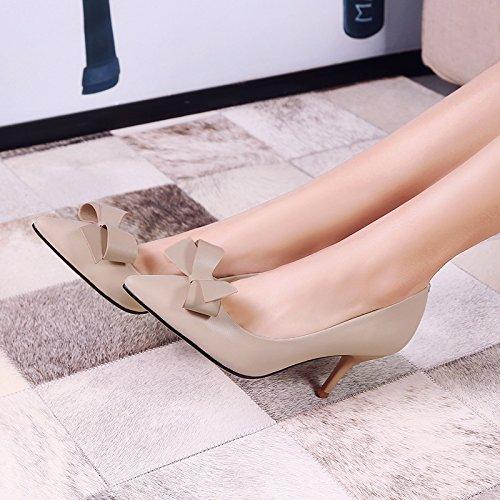 zapatos Treinta y finos tacones tacones siete zapatos AJUNR de Transpirable altos 35 cabezas 8cm Sharp Solo mujer Moda Almond Sandalias elegante nxSfpqC