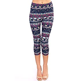 - 51J9e1azyYL - VIV Collection Print Brushed Ultra Soft Cropped Capri Leggings Regular and Plus (Sizes XS – 2XL) Listing 1