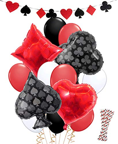 Casino Party Decorations| Las Vegas Party Decorations Game Night Casino Straws Balloons Banner for Birthday -