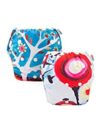 ALVABABY Swim Diapers Reuseable Washable & Adjustable 2 PCS One Size