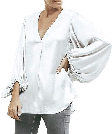 Rcool Camiseta Camisetas Tops y Blusas Camisetas Mujer Manga Corta Camisetas Deporte Mujer Camisetas Mujer,Blusa de Manga Larga con Cuello en V de Color Puro Blusa de Manga Larga: Amazon.es: Ropa y