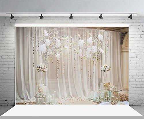 Leyiyi Wedding Ceremony Stage Backdrop 7x5ft Photography Background White Muslin Curtain Sequin Decoration Flower Balls Rose Petals Engagement Party Photo Portrait Vinyl Studio Video Prop