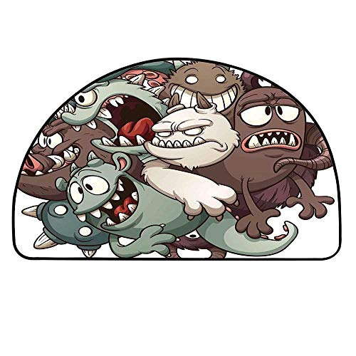 YOLIYANA Kids Entry Mat Rugs,Cute Monsters Reunioun Fictional Scary Fun Characters Humor Graphic for Front Door,21.6