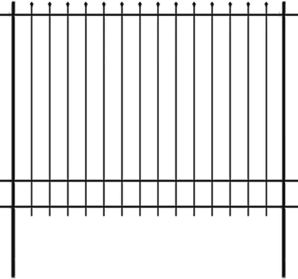 Tidyard Valla de Seguridad para Jardin con Punta,Valla Estacada de Jardin,Valla de Acero,Negro 600x100cm