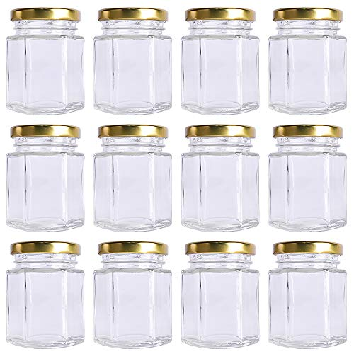 12 pack 6 oz 180 ml Clear Glass Canning Jars Jam Jars with Lids for Honey,candies,sauce,Baby Foods,Jelly Wedding Favors,DIY Magnetic Spice Jars(Comes with gold lids) -