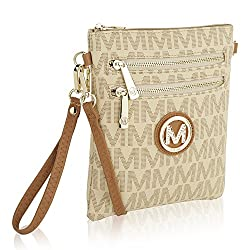 Mkf Crossbody Bag For Women Removable Adjustable Strap Vegan Leather Wristlet Designer Messenger Purse Beige