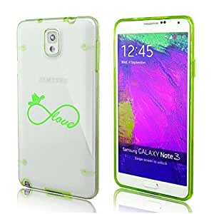 Samsung Galaxy Note 3 Ultra Thin Transparent Clear Hard TPU Case Cover Infinity Love Country Cowgirl (Green)