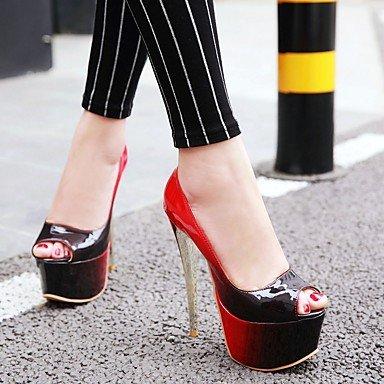 LvYuan Tacón Stiletto-Confort Zapatos del club-Sandalias-Boda Vestido Fiesta y Noche-Cuero Patentado-Marrón Negro Rosa Rojo Green