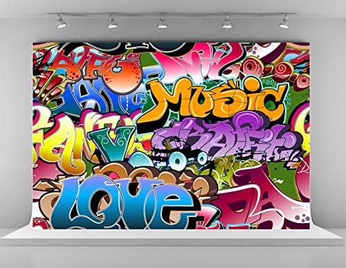 Wofawofa Graffiti 80s Backdrop 9X6FT Vinyl Hip Hop 90s Backdrops Creative Red Lips Twinkle Stars Artistic Photography Background for Girls Bridal Shower Decoration Wallpaper Photo Studio Props KX843