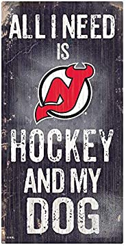 NHL New Jersey Devils Unisex New Jersey Devils Hockey and My Dog Sign, Team Color, 6 x 12