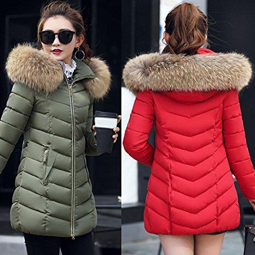 Abrigo Moda abrigo Grueso Chaqueta Abrigo Largo Escudo Caliente Invierno Rojo delgado Mujer Internet UaqwzgnT