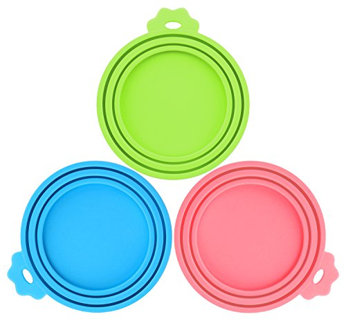 Pet Food Can Covers-Comtim 3 Pack Silicone Can Lids Caps for Dog Cat Wet Food,Universal Size Fit Most Standard Size Canned Dog and Cat ()
