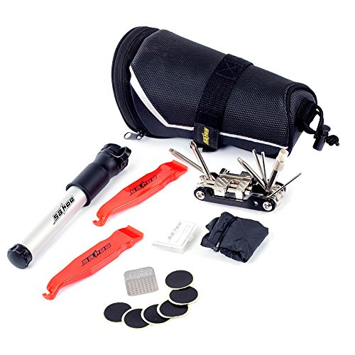 Signature@ 11 in 1 Cycling Bicycle Tools Bike Repair Kit Set with Pump Accessories Saddle Bag Bike Tire Inflator Patch Crowbar All in - Signature Crowbar