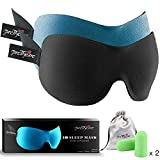 PrettyCare 3D Sleep Mask with 2 Pack Eye Mask for Sleeping - Contoured Eyemask for Airplane with EarPlugs & Yoga Silk Bag for Travel - Best Night Blindfold Eyeshade for Men Women
