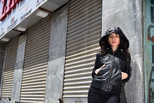 Women's Hooded Leather Moto Biker Jacket | Black Genuine Lambskin Ladies Bomber Slim fit jacket with Removable hood