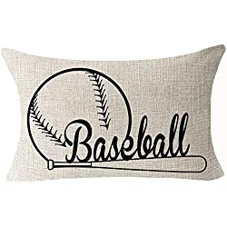 Sports Series Vintage Black Baseball Design Cotton Linen Waist Lumbar Pillow Case Cushion Cover Personalized Home Office Decorative Rectangle 12 X 20 Inches