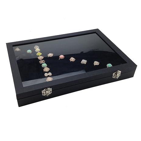 Amazoncom BOCAR Black Glass Top 100 Slots Ring Jewelry Showcase