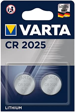 VARTA CR 2025 - Pack de 2 Pilas (Litio, 3V, 157 mAh)