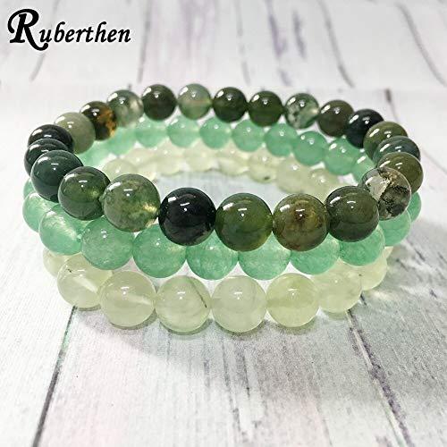 Green Chakra Stone Bracelets | Moss Agates Green Aventurine Beads Bracelets | Hearing Yoga Jewelry