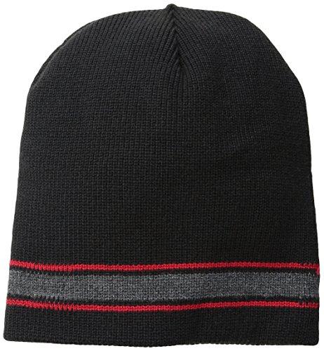 Wigwam Men's Retro Stripe Acrylic Knit Beanie hat, Black/Red, One Size
