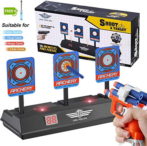 LITTLE 8 Nerf Targets for Shooting Auto Reset Digital Electric Scoring Target with Sound and Light Effect for Nerf Guns Blaster N-Strike Elite Mega Rival Series for Kids Boys Girls