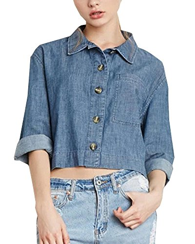 Tidecloth Women's Simple Ribbed Hem Gentlewomanly Stylish Blouse Blue US 0