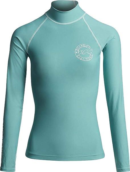 BILLABONG Womens Logo en Camiseta de Manga Larga Rash Vest Top - Seafoam - UV50 +. Estampado con Logo en el Pecho - Banda de Cintura de Neopreno: Amazon.es: Deportes y aire libre