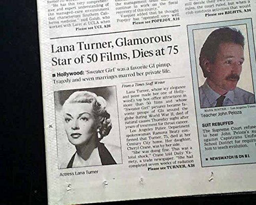 Best LANA TURNER Movie Film Actress WWII Pin-Up Model Girl DEATH 1995 Newspaper LOS ANGELES TIMES, June 30, 1995]()