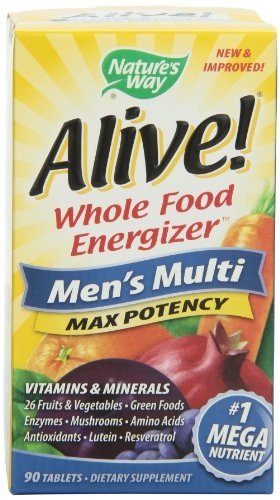 Max 90 Tabs - Nature's Way Alive Men's Max Potency Multi Vitamins and Mineral Tablets, 90 Count by Nature's Way