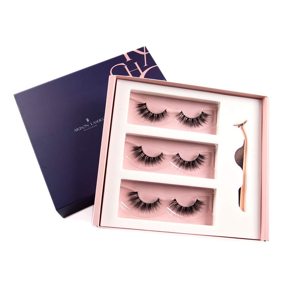 Arison 3D Eyelashes Kit False Fake Lashes 3 Pair Package with Tweezer Set Wispy Strips Silk Reusable Handmade Long Fur Soft Dramatic Natural Look for Women Makeup(LH-30)