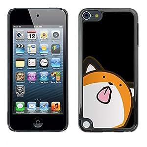 QCASE / Apple iPod Touch 5 / animación gato arte dibujo lengua lamiendo / Delgado Negro Plástico caso cubierta Shell Armor Funda Case Cover