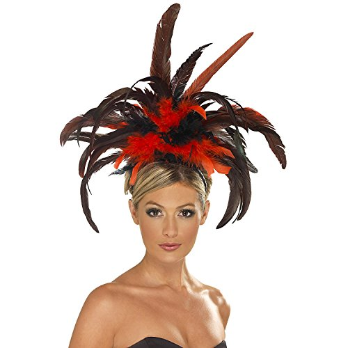 Red Burlesque Costume (Burlesque Black & Red Feathered Headband)