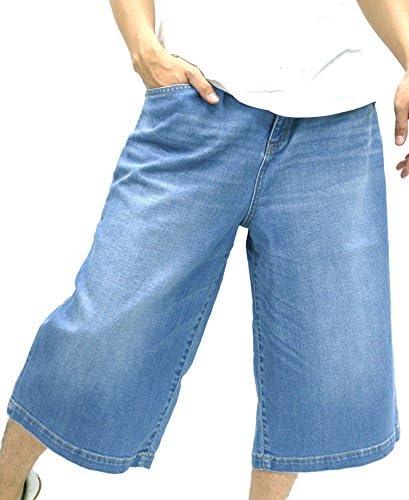 ショートパンツ ワイド ストレッチ デニム ハーフパンツ メンズ 淡色 ブルー 40 L