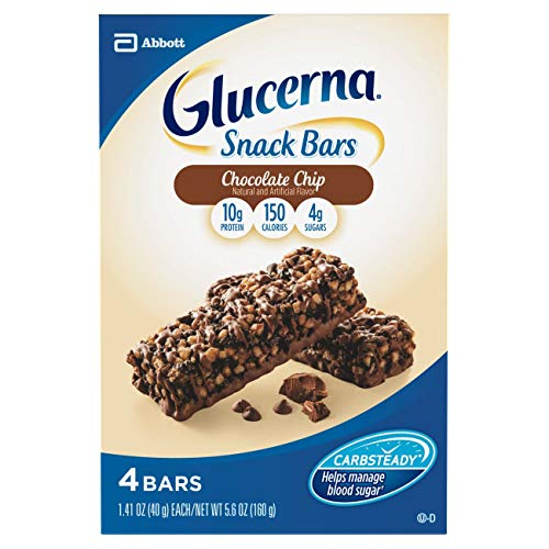 Glucerna Nutrition Bar Chocolate Chip Flavor 1.41 oz. Individual Packet Ready to Use, 62074 – Each