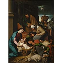 The high quality polyster Canvas of oil painting 'Italian Neapolitan The Adoration of the Shepherds ' ,size: 8 x 11 inch / 20 x 28 cm ,this Reproductions Art Decorative Canvas Prints is fit for Kids Room artwork and Home decor and Gifts