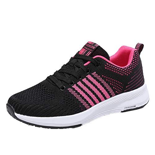 Sonnena Damen Bequem Breathable Schuhe Sneaker Gym Fitness Mesh Turnschuhe Freizeitschuhe Casual Schnürer Leicht Sportschuhe Laufschuhe Shoes 35-41 Pink