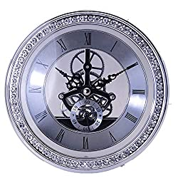 Clock Inserts, Deewish Transparent Skeleton Clock Inserts Recessed Quartz Clockwork Table Clock Clock MovementClock DIY (Diameter 148mm, Silver)