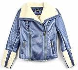 Xtra Sugar Girl's PU Leather jacket (Medium, Metallic Blue)