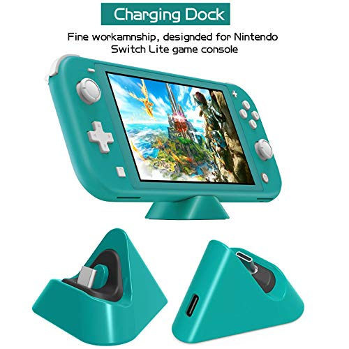 Accessories Bundle for Switch Lite, Accessories Kit with Carrying Case, Screen Protector, Playstand, Game Card Case, Charging Dock, USB Cable, Thumb-Grip Caps, Stylus for Nintendo Switch Lite