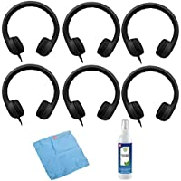 Hamilton Buhl Flex-Phones, Foam Kids Headphones & Cleaning Kit (6-Pack, Black)
