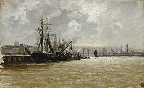[Oil Painting 'Haes Carlos De The Port Of Rouen Ca. 1884' 24 x 39 inch / 61 x 99 cm , on High Definition HD canvas prints is for Gifts And Game Room, Home Theater And Powder Room] (God Of War 3 Costumes Hack)