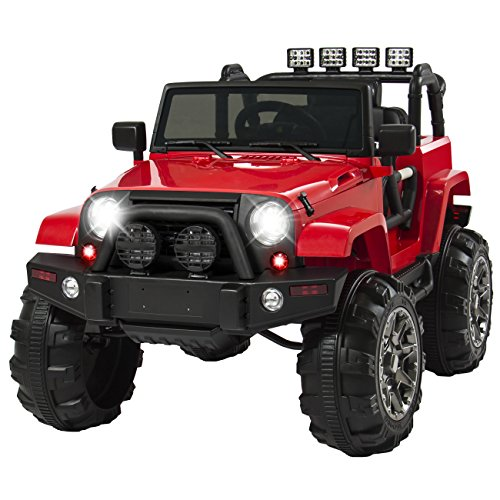 Best Choice Products 12V Ride On Car Truck w/ Remote Control, 3 Speeds, Spring Suspension, LED Light Red (Kids Powered Battery 12 Volt Cars)