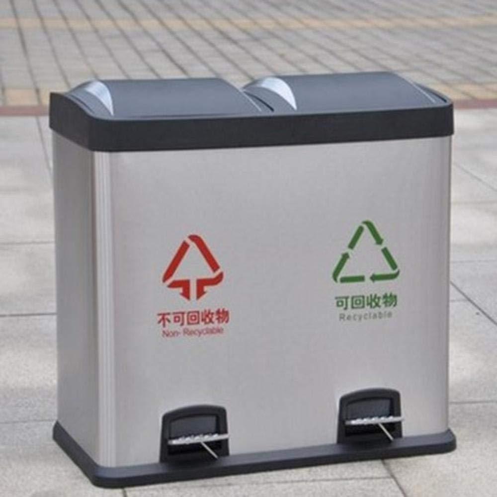 outdoor dustbins 16L//30L//48L//60L Recipienti Bidone della Spazzatura Bidoni per Raccolta Differenziata Rifiuti in Acciaio Inox 2 in 1 Bidoni Dellimmondizia Allaperto 16L