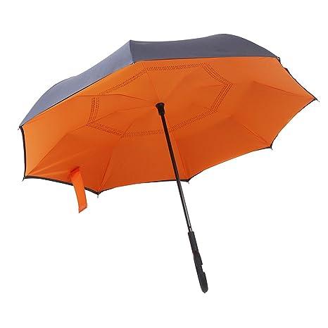 Tipo manejar paraguas automático plegable doble coche de día lluvioso de interior (naranja)