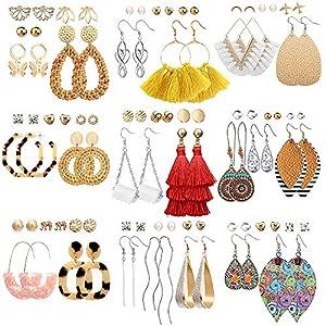 Best Epic Trends 51J9jNPWfwL._SS300_ 47 Pairs Fashion Earrings for Women Girls, Boho Statement Tassel Rattan Leather Earrings Ethnic Fashion Butterfly Stud…