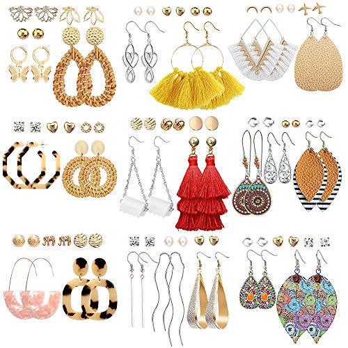 47 Pairs Fashion Earrings for Women Girls, Boho Statement Tassel Rattan Leather Earrings Ethnic Fashion Butterfly Stud…