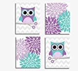 CANVAS Baby Girl Nursery Wall Art Purple Lavender Teal Aqua Love Owls Mum Dahlia Baby Nursery Décor SET OF 4 CANVAS