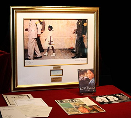 Signed ROSA PARKS, Norman Rockwell In plate Seriolithograph ART, Frame DVD, COA UACC