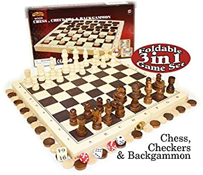Homeware 3-in-1 Chess, Checkers and Backgammon Foldable Travel Wooden Game Set